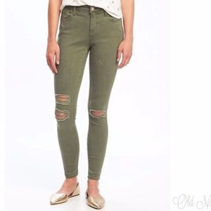 Old Navy Distressed Mid Rise Rockstar Skinny Jeans
